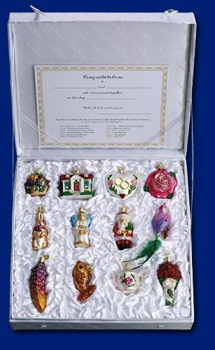 Old World Christmas Bride's Collection Ornament Box Set Bird House Christmas Tree Ornament