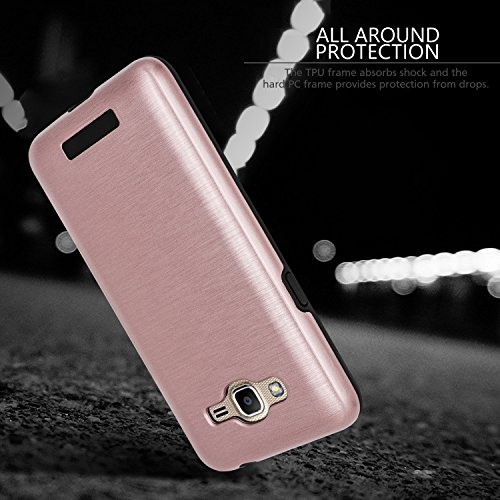 Galaxy J2 Prime Case,Galaxy Grand Prime Plus Case,(TM)[Metal Brushed Texture] Impact Resistant Heavy Duty Hybrid Dual Layer Shockproof Protective Cover Shell For Samsung Galaxy J2 Prime Rose Gold Photo #3