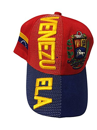 Baseball Caps Hats with Five 3D Embroideries - Countries of America (1-Pack, Country: Venezuela 2)