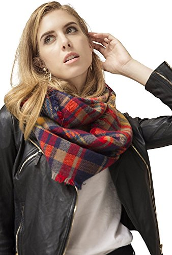 Scarf Infinity Blanket Plaid Tartan Spring Winter Scarf Shawl Neckwear Scarves (Black Red Infinity Scarf) (Halloween Dress Up Ideas For Babies)
