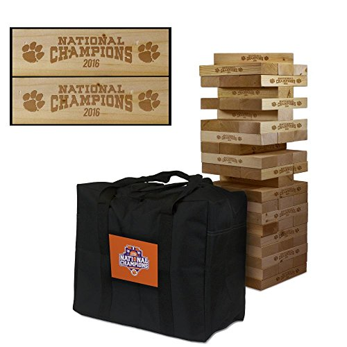 NCAA Clemson Tigers Clemson University Wooden Tumble Tower Game Champions, Multicolor, One Size by Victory Tailgate