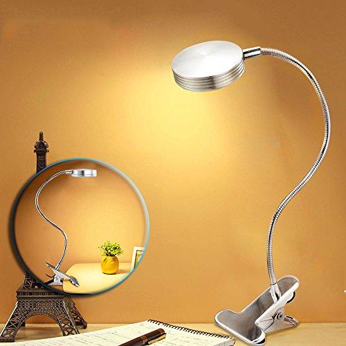 BestFire LED dimmbar Tischlampe, Klemmleuchte, Silber Augenschutz LED Schreibtischlampe mit Flexible Hals und Stahl Clip,Flexibel Klemmleuchte Leselampe,5W und Warmweiß