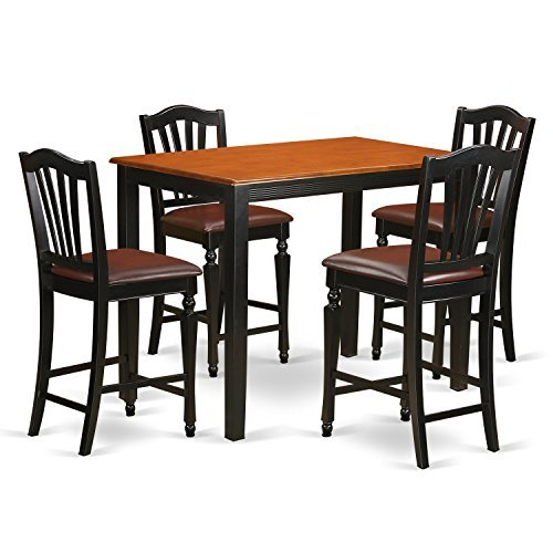East West Furniture YACH5-BLK-LC 5 Piece Pub Table and 4 Counter Height Dining Chair Set