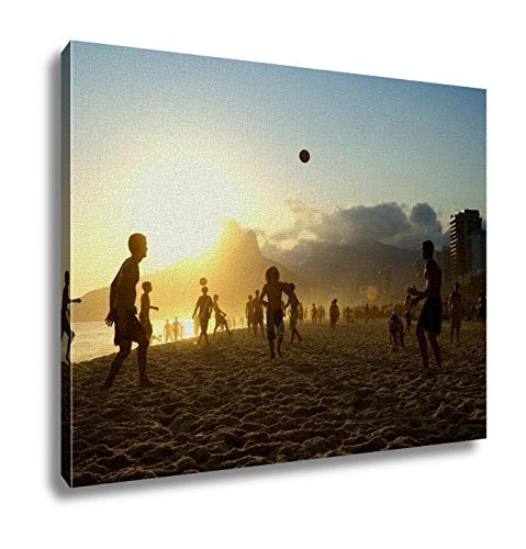 Ashley Canvas Sunset Silhouettes Playing Altinho Futebol Beach Football Brazil Wall Art Decor Stretched Gallery Wrap Giclee Print Ready to Hang Kitchen living room home office, 24x30 by Ashley Canvas