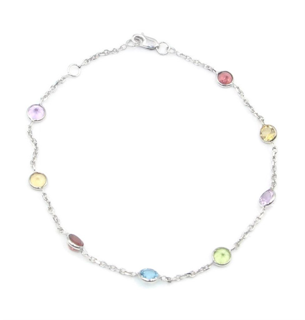 Multi-Color Gemstone 7'' Bracelet,14k White Gold Cable Chain with Lobster Lock