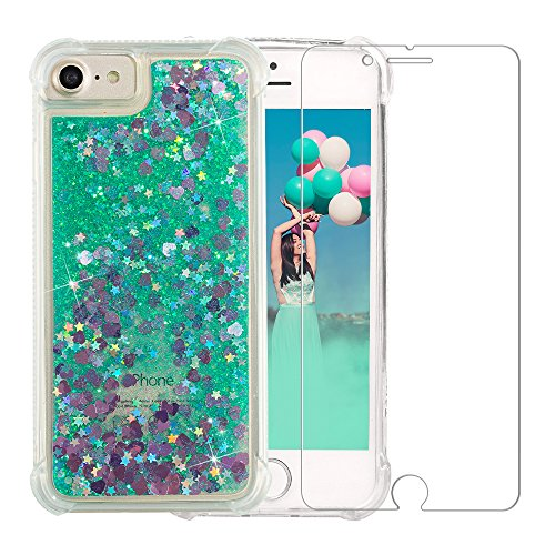 iPhone 6/6S/7/8 Glitter Case, NOKEA Luxury Fashion Bling Flowing Liquid Floating Sparkle Glitter Girly TPU Case with Free Tempered Glass Screen Protector for iPhone 6/6S/7/8 (4.7