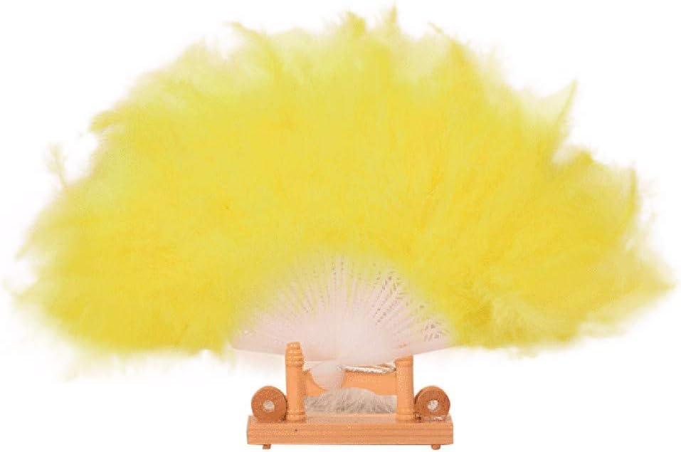 YWLINK Abanicos,28 Abanicos De Plumas Boda Showgirl Danza Elegante Pluma Grande Plegable Mano Fan Decor Decal Fiesta De Bodas Manualidades Memorial Nacional De Viento(Amarillo)