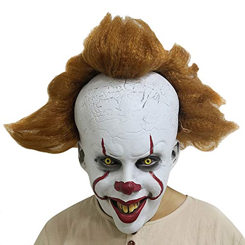 Adult Clown Mask with Hair and Exposed