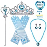 MISS FANTASY Princess Elsa Dress Up Accessories for Girls Blue Princess Cosplay Costume Accessories Include Wand Tiara Necklace Glove Earring Set of 6 Good for Halloween Dress Up Party Birthday Party