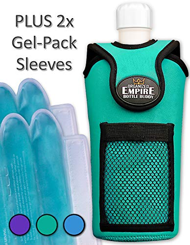 Holder Insulated Bottle - Organized Empire Insulated Water Bottle Holder with Shoulder Strap Sling + 2 Freezable & Microwave Gel-Pack Sleeves for hot/Cold Use as Breastmilk Cooler Bag, Portable Bottle Warmer or Drink Carrier
