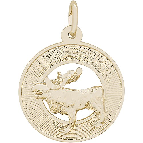 Rembrandt Charms 14K Yellow Gold Alaska Moose Charm (0.79 x 0.79 - Yellow Gold Charm