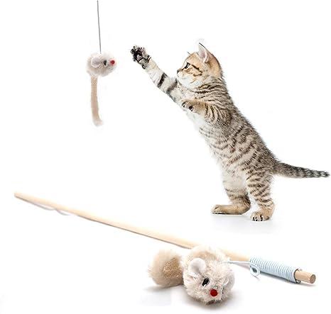 4yourpet Caña de Pescar de Juguete para Gatos, con ratón de ...