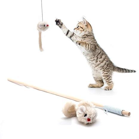 4yourpet Caña de Pescar de Juguete para Gatos, con ratón de Peluche