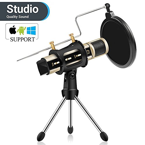 Studio Recording Microphone, ZealSound Condenser Broadcast Microphone w/Stand Built-in Sound Card Echo Recording Karaoke Singing for iPhone Phone Windows Garageband Smule Live Stream & Youtube (Gold) ()