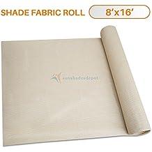 Sunshades Depot 8'x16' Shade Cloth Beige Fabric Roll 75% Blockage UV Resistant Mesh Net