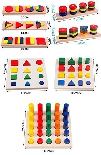 Montessori Materials Cylinder Educational Toy Block Wood Teaching Aids Geometry Shape Sorter Baby Learning Portfolio Combination 8 Pieces