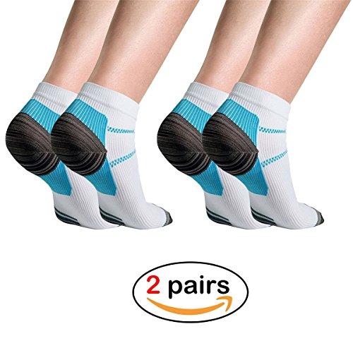 Adecco LLC 2 Pairs Plantar Fasciitis Socks, Compression Foot Sleeves for Men & Women, Sport Plantar Fasciitis Arch Support Low Cut Running Gym Compression Foot Socks