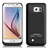 Galaxy S6 Edge Battery Case, 4200 mAh Slim Portable Rechargeable Extended Battery Pack Charger Case, Power Bank Charging Case with Kickstand for Samsung Galaxy S6 Edge-Black