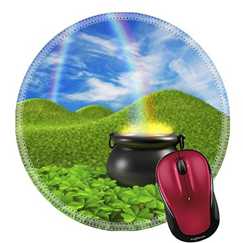 Liili Round Mouse Pad Natural Rubber Mousepad IMAGE ID: 7059383 A pot at the end of the rainbow shown surounded by a lucky clover garden and roling hills of grass in the background