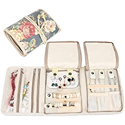 Teamoy Jewelry Organizer, Travel Jewelry Roll Case for Necklaces, Earrings, Bracelets, Rings, Brooches and More, Beautifully Made, Lightweight and Easy to Carry, Peony