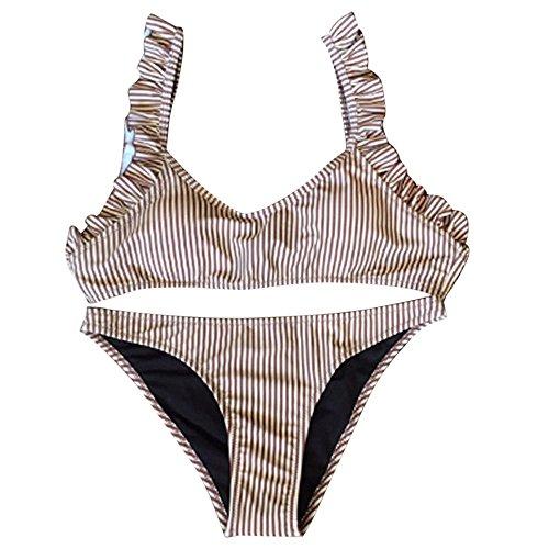 tosangn Women's Bikini Stripe Strap Ruffle Swimsuit Beachwear Bathing Suit (L) by tosangn