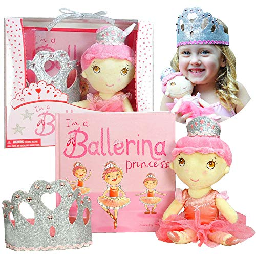 Ballerina Princess Gift Set- Includes Book, Ballerina Doll Toy, and Tiara Crown for Little Girls Ages 2 3 4 5 6 Years. Great for Birthday, Ballet Recital, and Toddler Role -