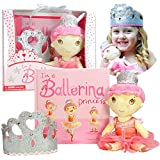 Ballerina Princess Gift Set- Includes Book, Ballerina Doll Toy, and Tiara Crown for Little Girls Ages 2 3 4 5 6 Years. Great for Birthday, Ballet Recital, and Toddler Role Play