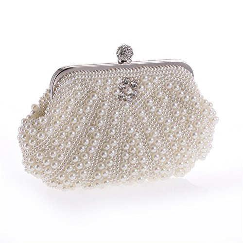 UK_Stone Handmade Elegant Damen Weiss Perlen Beaded Clutch Handtasche Party Abendtasche
