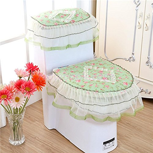 EE New Toilet Seat Cover Floral Closestool Tank Lid Cloth Bathroom Set 3PC #3