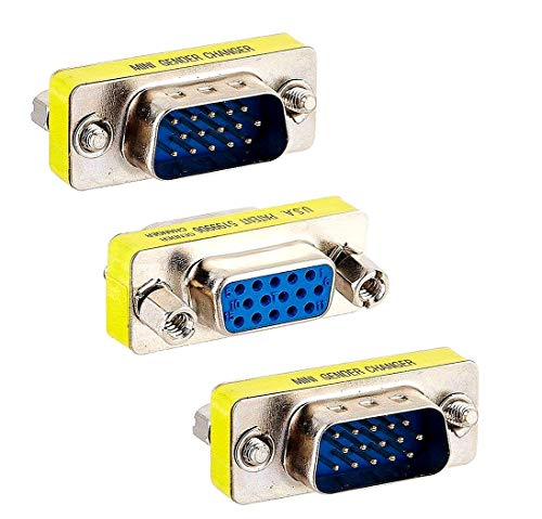 BeElion 3-Pack HD DB15 VGA Male to Female Null Modem Serial Cable Coupler Gender Changer