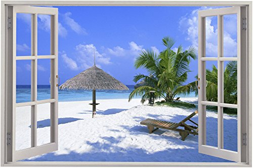 Beach Window Poster Art Print Decorative / Paper