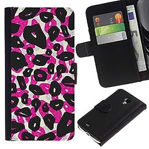 [Neutron-Star] Modelo colorido cuero de la carpeta del tirón del caso cubierta piel Holster Funda protecció Para Samsung Galaxy S4 Mini i9190 (NOT S4) [Los puntos del leopardo Animal Rosa Negro]
