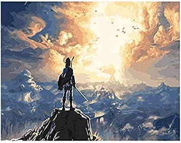 YMX DIY Family Pintura por números La Leyenda de Zelda Aliento Salvaje Juego de Bricolaje Arte de la Pared Cuadros para la Sala de Estar 40X50Cm de Adulto Sin Marco: Amazon.es: Juguetes