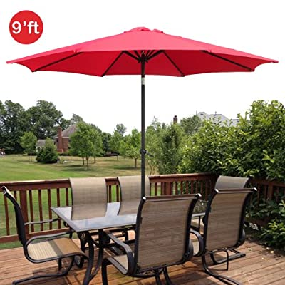 GotHobby 9ft Outdoor Patio Umbrella Aluminum w/ Tilt Crank - Red - Condition: Brand new Diameter: 9'ft 180D polyester and UV protection - shades-parasols, patio-furniture, patio - 51JuD4ZPXBL. SS400  -