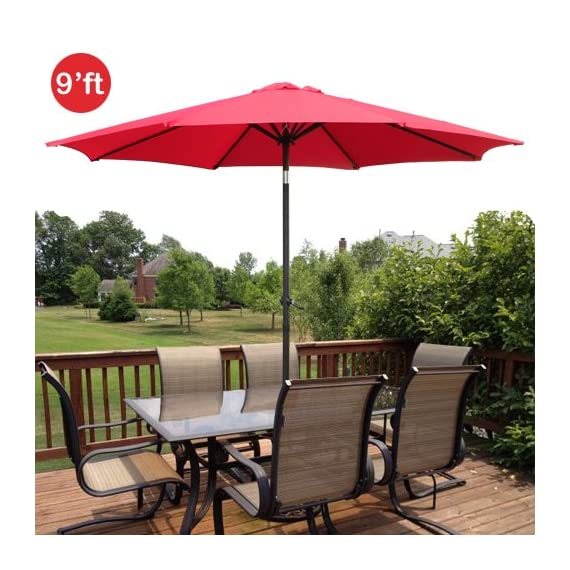 GotHobby 9ft Outdoor Patio Umbrella Aluminum w/ Tilt Crank - Red - Condition: Brand new Diameter: 9'ft 180D polyester and UV protection - shades-parasols, patio-furniture, patio - 51JuD4ZPXBL. SS570  -
