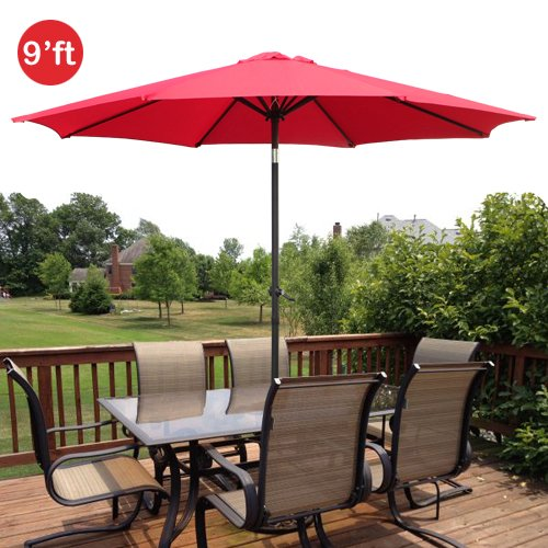 GotHobby 9ft Outdoor Patio Umbrella Aluminum w/ Tilt Crank - Red