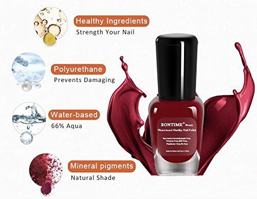 BONTIME Non-Toxic Nail Polish - Easy Peel off & Quick Dry Water Based Nail Polish Set for Women,Teens,Kids(6 Colors,0.27 fl oz)