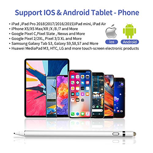 Chilison Active Stylus Digital Pen for Touch Screens,Pencil Compatible for iPad iPhone Samsung &Tablets, Drawing and Handwriting on Touch Screen Smartphones & Tablets (iOS/Android), White by CHILISON (Image #3)