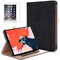 Soweiek iPad Pro 11 inch 2018 Premium Leather Protective Stand Smart Cover with Pencil Holder and Screen Protector (Black)