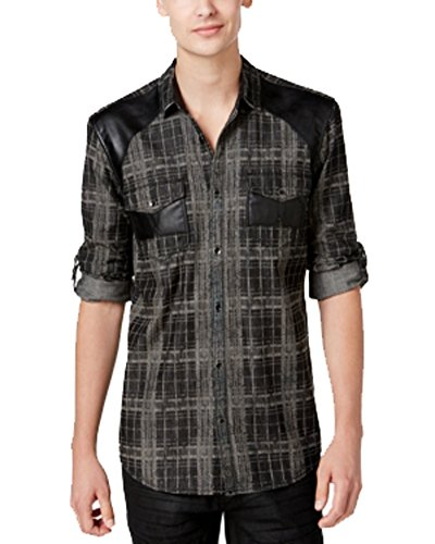 Inc International Concepts Mens Grey Black Faux Leather Plaid Long Sleeve Shirt Medium