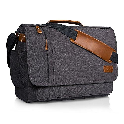 Laptop Padded Messenger - Estarer 17.3 Inch Laptop Messenger Bag Water-Resistance Canvas Computer Bag for Office Work College Upgraded Version