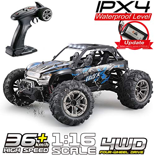 Fistone RC Truck 1/16 High Speed Racing Car, 24MPH 4WD Off-Road Waterproof Vehicle 2.4Ghz Radio Remote Control Monster Truck Dune Buggy Hobby Toys for Kids and Adults from Fistone
