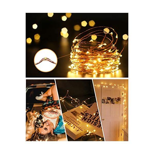 Litogo Luci LED Batteria, Catena Luminosa 5m 50 LED Fairy Light Filo Rame Ghirlanda Luminosa Lucine LED Decorative Waterproof per Camere da Letto Giardino Casa Feste Natale Matrimonio (Bianco Caldo) 4 spesavip