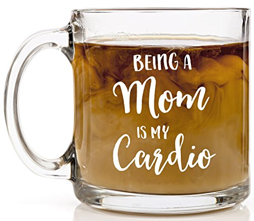 Love Glass Bear (Shop4Ever Being a Mom is my Cardio Novelty Glass Coffee Mug Tea Cup Gift ~ Mother's Day ~ (13 oz., Clear))
