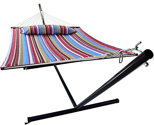 Sorbus Hammock with Spreader Bars and Detachable Pillow, Heavy Duty, 450 Pound Capacity,...