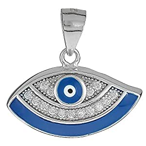 AK Jewels 925 Silver Enamel Evil Eye with Cubic Zirconia Pendant For Women