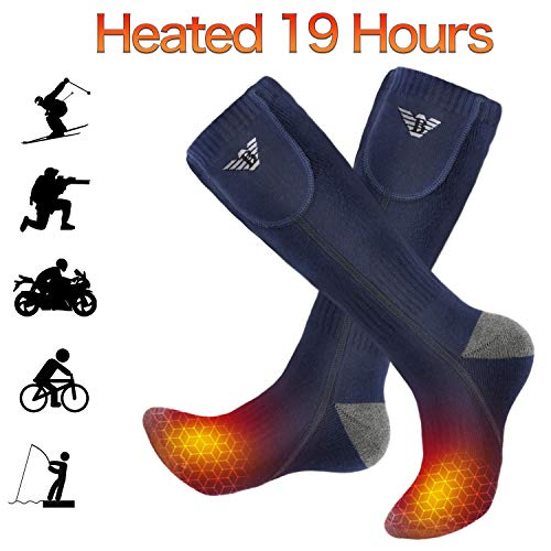 Battery Heated Socks - Rechargeable Heating Socks, Winter Electric Thermal Socks Foot Warmers for Men Women Sport Outdoor (Navy Blue)