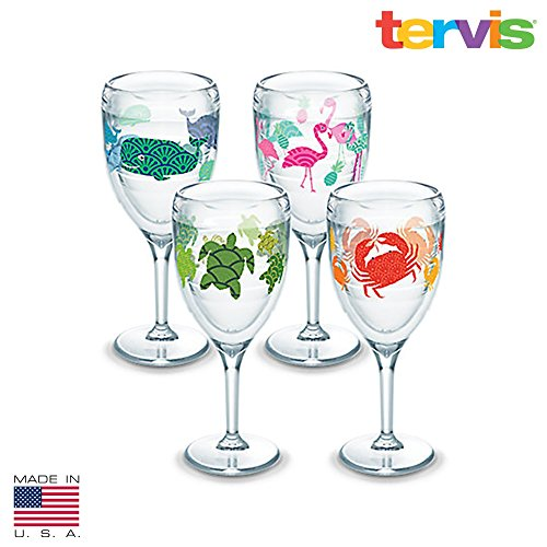 Tervis Wine Glass 4 pack Flamingo, whale, Turle, Crab made in USA by Tervis