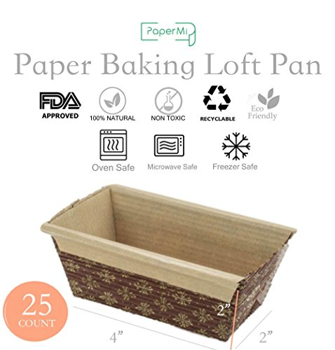 Paper Loaf Pan, Disposable Paper Baking Loft Mold 25ct, All Natural FDA Approved, Recyclable, Microwave Oven Freezer Safe, Providing Beautiful Display For Baked Goods - Paper Loaf Mold