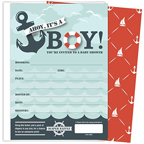 Koko Paper Co It's A Boy Nautical Baby Shower Invitations with Tear-off Diaper Raffle Tickets. 25 5x7 Fill in the Blank Style Invites with White A7 Envelopes. ()